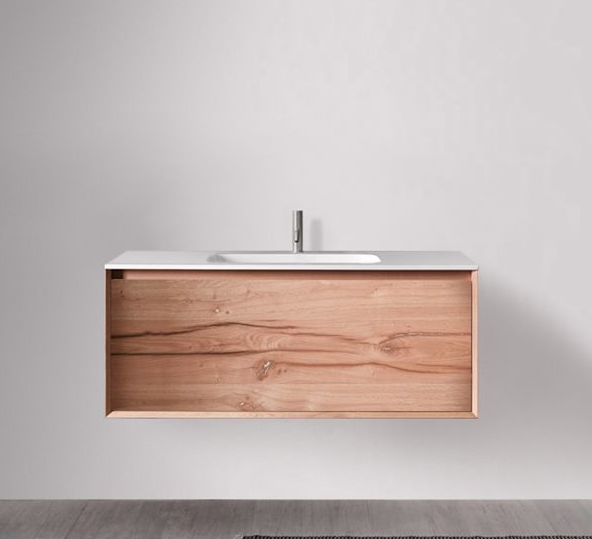 Blubathworks 45 degrees vanity line 1200 series wall hung in natural oak
