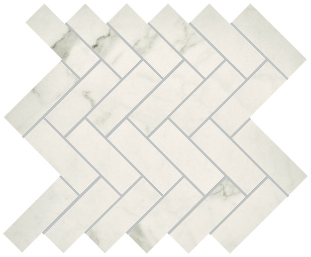 State Of Grace porcelain marble tiles Herringbone Mosaic