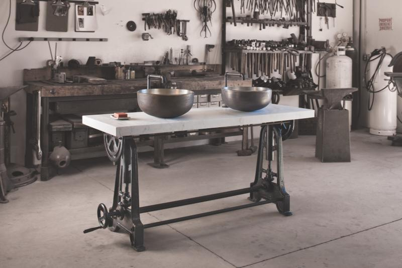 Stone Forest industrial trestle console