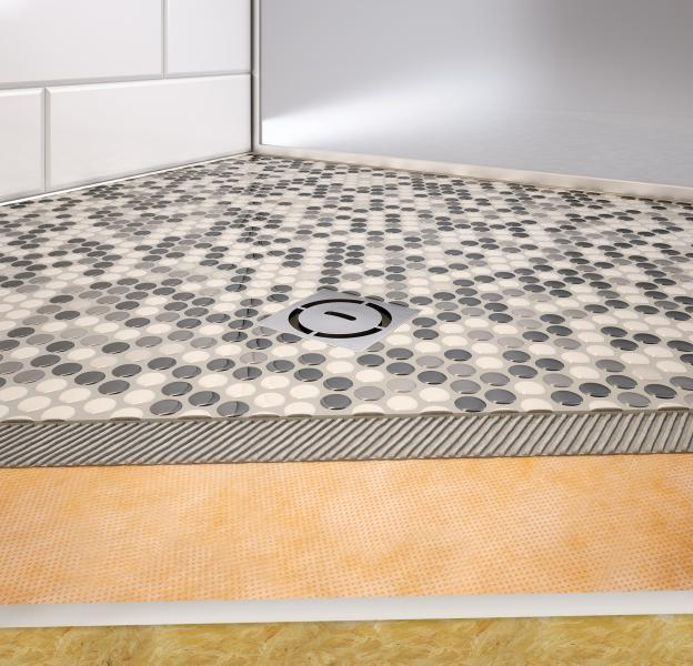 schluter systems shower tray cutaway