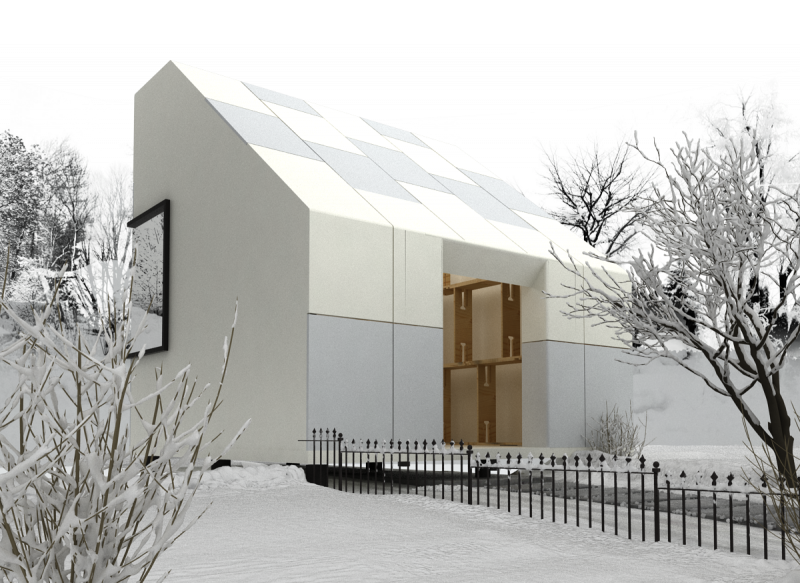 ClipHut Structural Building System house snowfall