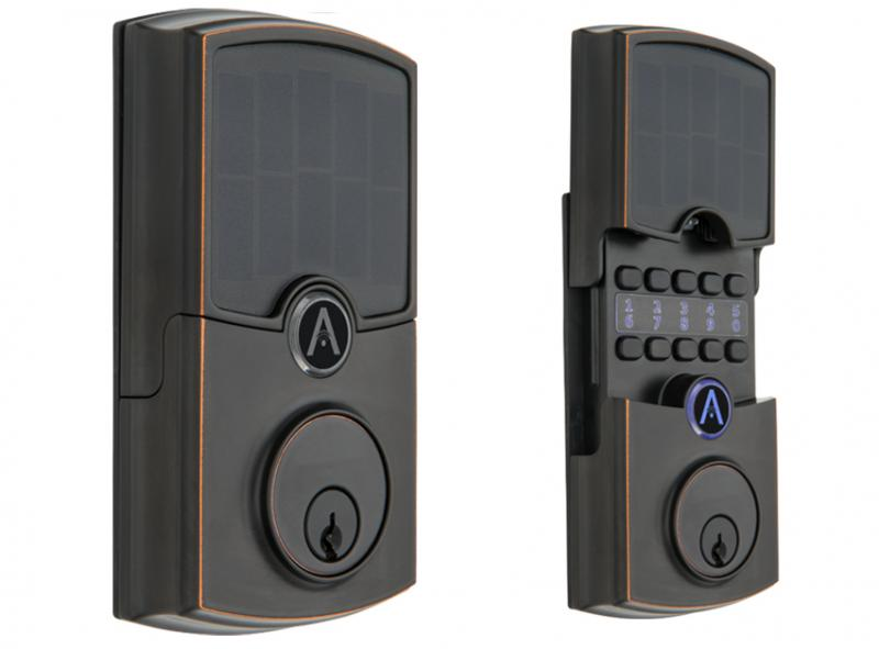 ARRAY By Hampton Barrington Tuscan Bronze Solar Panel Closed and Open to Show Hidden Metal Keypad