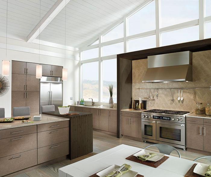 7 Kitchen Craft light grey kitchen cabinets in white oak