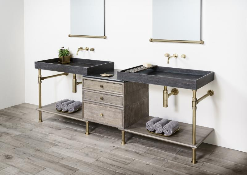 Stone Forest Sinks Elemental Collection Double Vanity brass