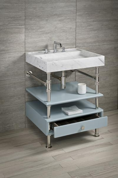 Stone Forest Sinks Elemental Collection Sink With Blue Steel storage trays