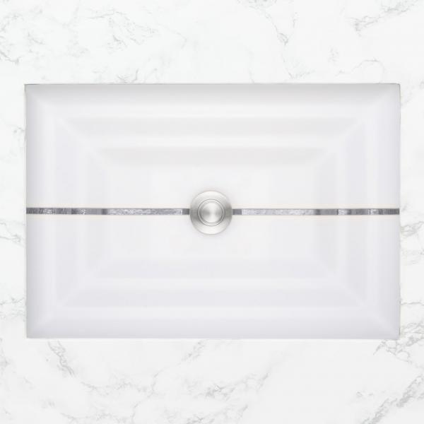 Linkasink Artisan Glass Sink rectangular stripe white matte silver plan