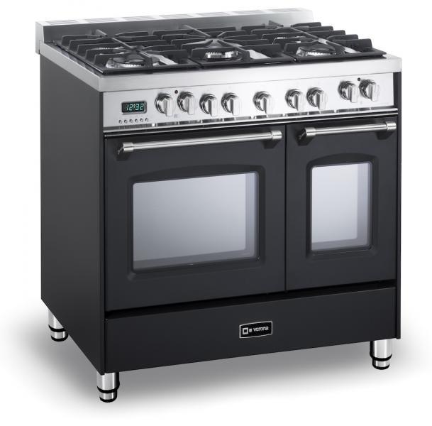 Verona Prestige 36 inch Double Oven Black Side