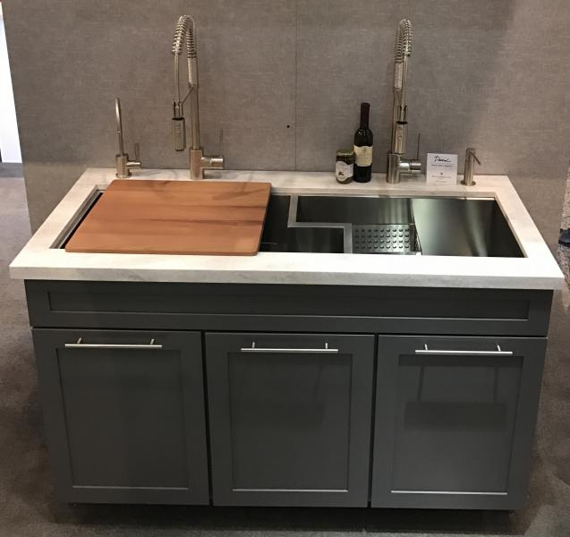 Rohl Culinario Sink Kitchen with faucet wood cutting board