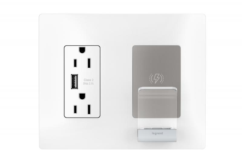 Legrand radiant wireless smartphone charger outlet