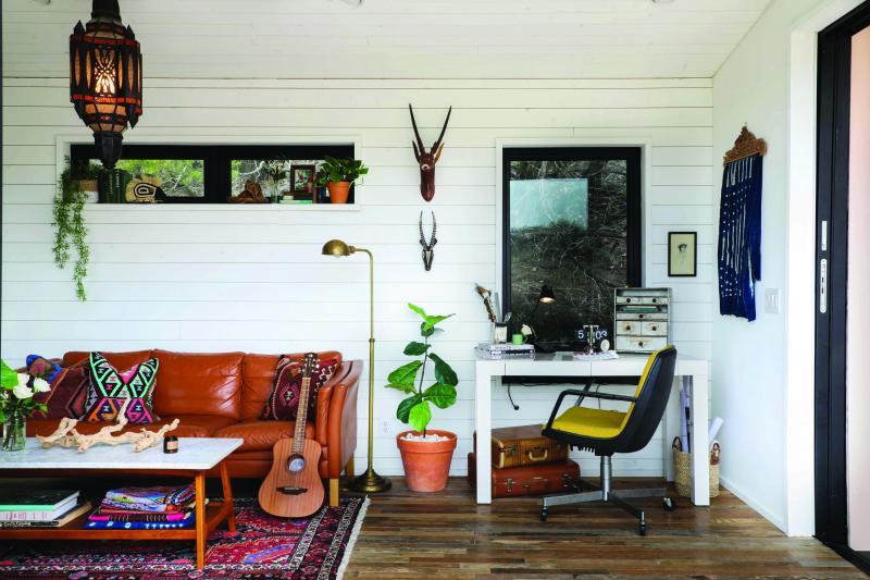 Kim Lewis home, salvaged wood floors