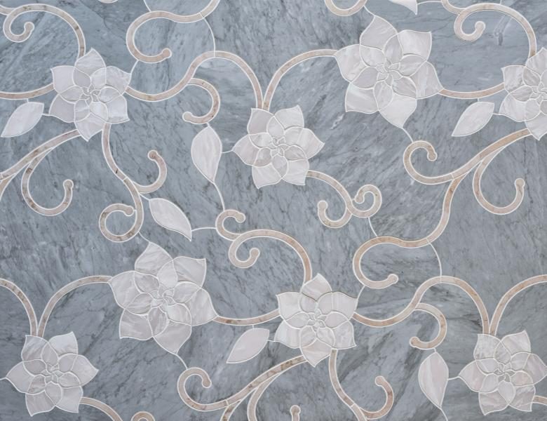 Mosaique Surfaces Camilla Flower tile, French Quarter Collection