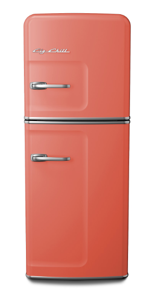 Big Chill retro refrigerator in salmon pink
