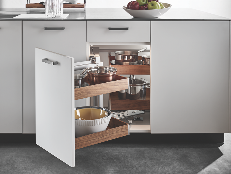 Hafele Fineline Magic Corner accessible cabinetry
