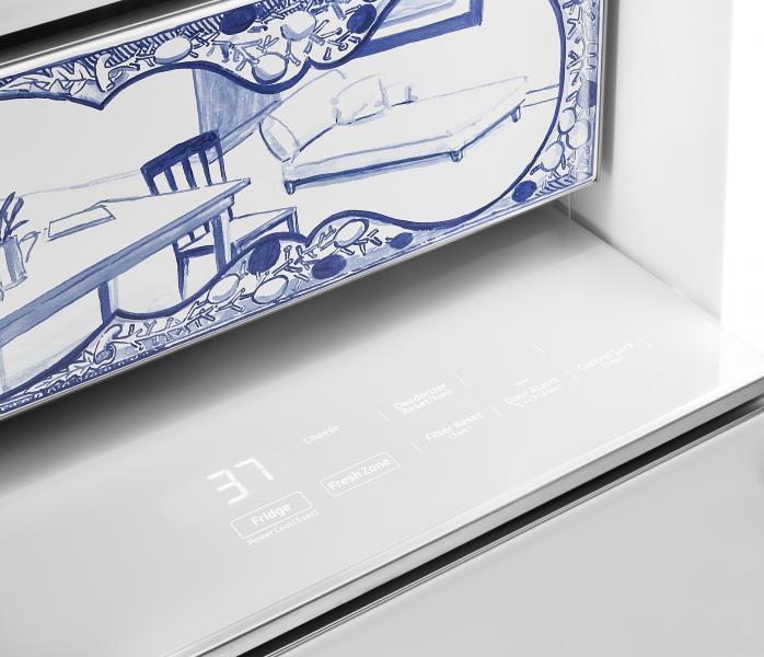 Dacor Atelier Edition porcelain refrigerator temperature control